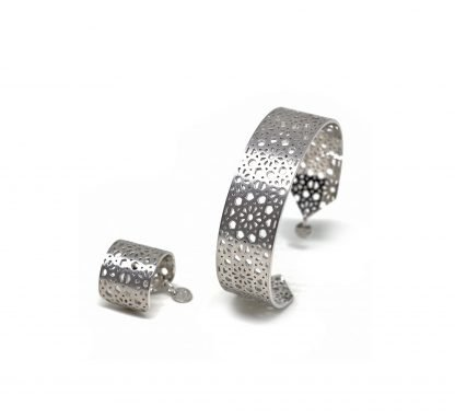 Jaali silver cuff and ring