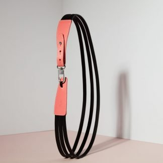 LEATHER BELT SALMON & BLACK