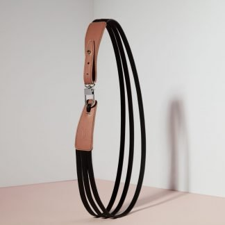 LEATHER BELT MUD BROWN & BLACK