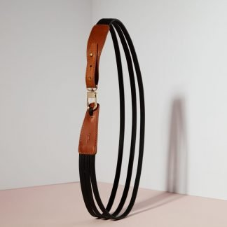 LEATHER BELT WHISKEY BROWN & BLACK