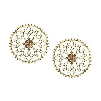 Gold Mandala earrings with Citrine Stone