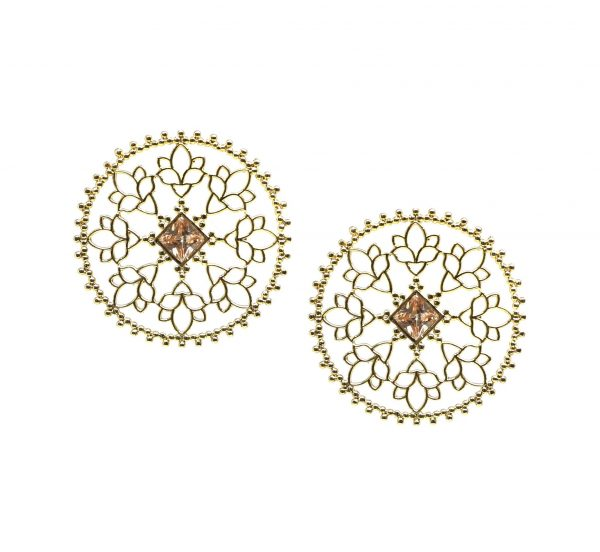 Gold Mandala earrings with Citrine Stone