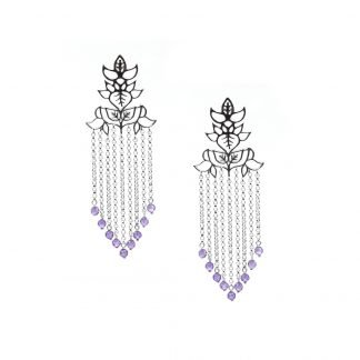 Leaves silver Chain Earrings with Purple zircons