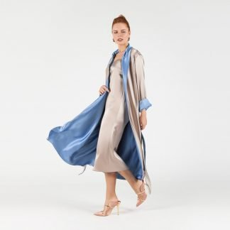 GOLD BLUE REVERSIBLE ROBE MYKAFTAN SLOW FASHION