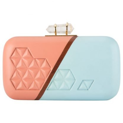 BABY BLUE PINK HAND-CARVED WOODEN CLUTCH ARTISANS MINAUDIERE DUET LUXURY