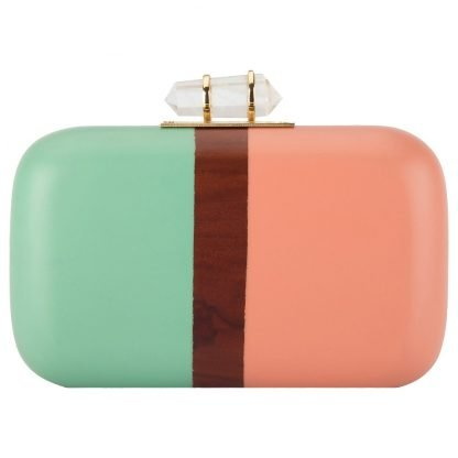 TURQUOISE PINK HAND-CARVED WOODEN MINAUDIERE CLUTCH DUET LUXURY