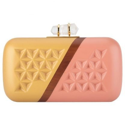 GOLDEN PINK HAND-CARVED WOODEN CLUTCH ARTISANS MINAUDIERE DUET LUXURY