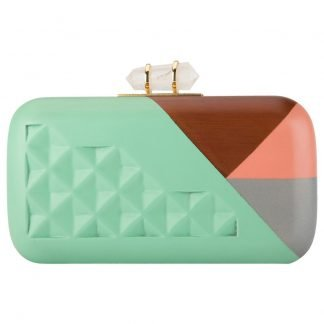 TURQUOISE PINK GEOMETRIC HAND-CARVED WOODEN MINAUDIERE CLUTCH DUET LUXURY