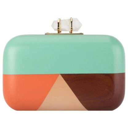 TURQUOISE HAND-CARVED WOODEN MINAUDIERE CLUTCH DUET LUXURY