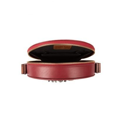 WOOD AND RED LEATHER CLUTCH DUET LUXURY SLOW FASHION