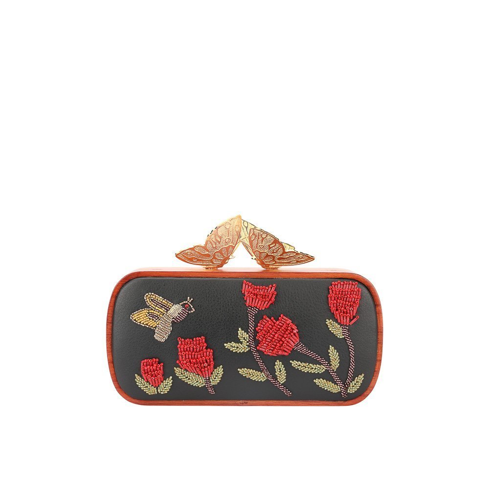 BEADED FLOWERS BUTTERFLY CLUTCH DUET LUXURY SLOW FASHION