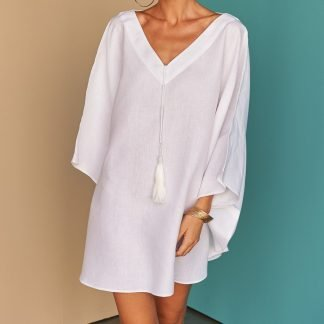 Habyba summer white linen Kaftan Facil blanco Sustainable Fashion