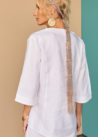 Latyfah white linen Top Tunic Facil blanco Dubai Sustainable Fashion