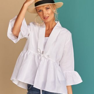 Lysa Ruffle Jacket Facil blanco dubai Sustainable Fashion