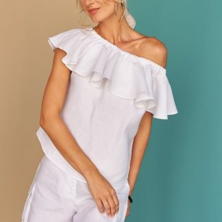 Morella Ruffle Top Fácil blanco Dubai Sustainable Fashion