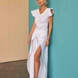Nycole white linen pants Fácil blanco dubai Sustainable Fashion