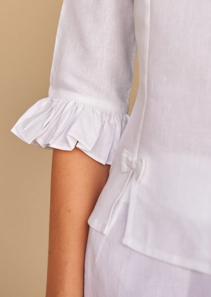 Rylee white linen top fácil blanco dubai Sustainable Fashion