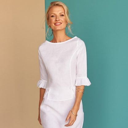 Rylee white linen blouse fácil blanco dubai Sustainable Fashion