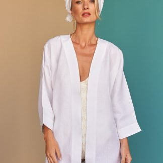 Rym white linen kimono Fácil blanco dubai Sustainable Fashion