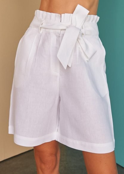 Sofya white linen shorts Fácil blanco dubai Sustainable Fashion