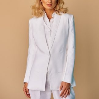 Valentyna white linen jacket Fácil Blanco Dubai Sustainable Fashion