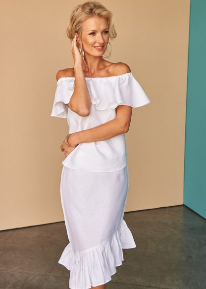 Vallerya Ruffle Skirt Facil Blanco Dubai Sustainable Fashion