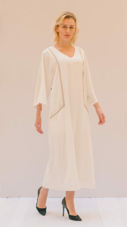 Lace Embellished White Kaftan Slow Fashion
