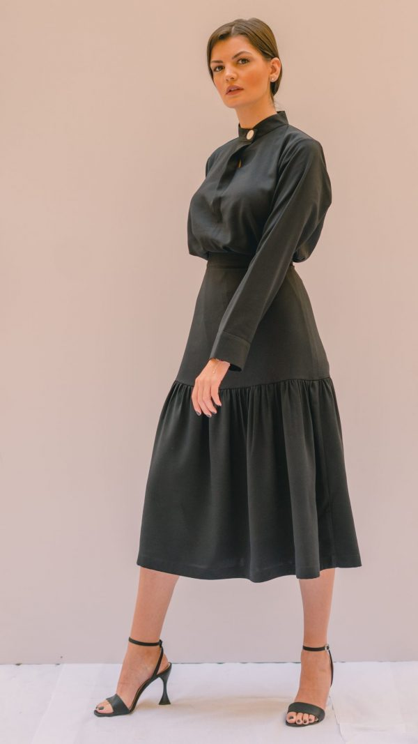 Black Gathered Skirt Slow Fashion
