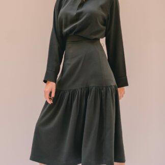 Black Gathered Skirt Slow Fashion