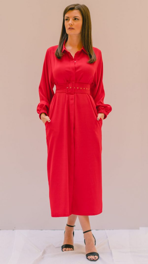Red Collared Dress Slow Fashion