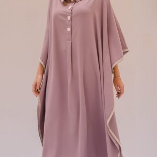 OFF SHOULDER BISHT KAFTAN IN LILAC SLOW FASHION