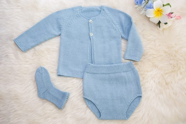 Delicate Crochet Set of Baby Clothes Blue Slow Fashion
