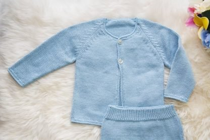 Delicate Crochet Set of Babyboy Clothes Blue Slow Fashion