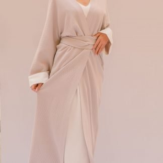 Textured Pale Lilac Wrap Abaya Slow Fashion