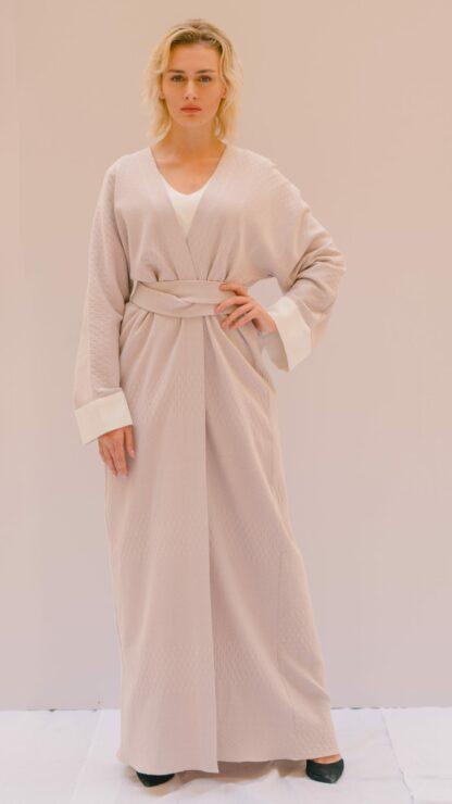 Textured Pale Lilac Wrap Abaya Slow Fashion