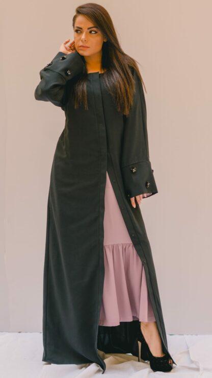 Sleeve Embellished Black Abaya Slow Fashion
