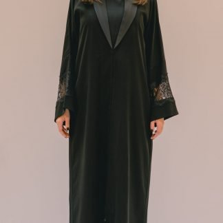 Lace Sleeve Black Abaya Slow Fashion