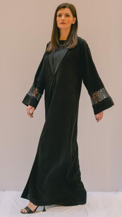 Lace Sleeve Black Abaya Slow Fashion