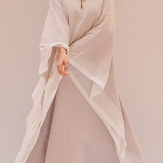 Textured Pale Lilac Bisht Kaftan Slow Fashion