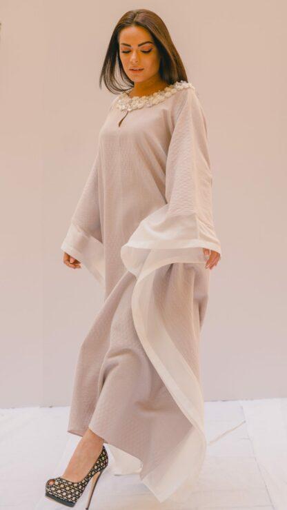 Textured Pale Lilac Bisht Kaftan Slow Fashion