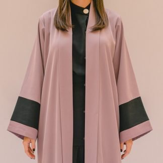 Stripe Patched Abaya Lilac and Black Stone Gray Slow Fashion