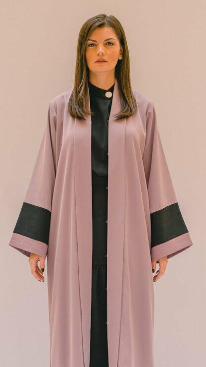 Stripe Patched Abaya Lilac and Black Stone Gray Slow Fashion