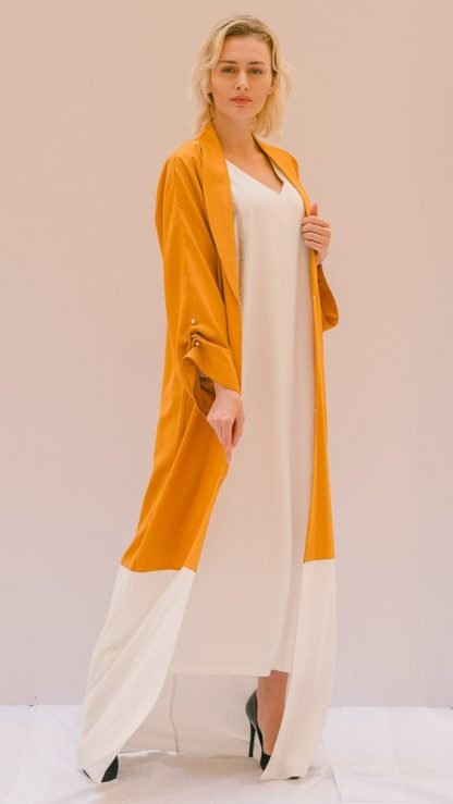 Stripe Patched Abaya Stone Gray Slow Fashion