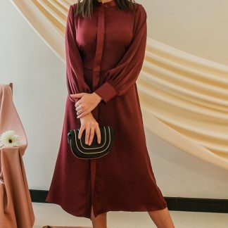 Alivia Maroon Midi Dress Stone Grey slow fashion