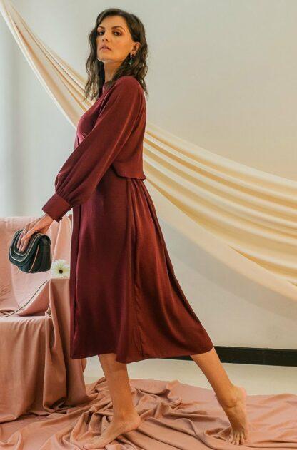 Alivia Maroon Midi Dress Stone Grey slow fashion