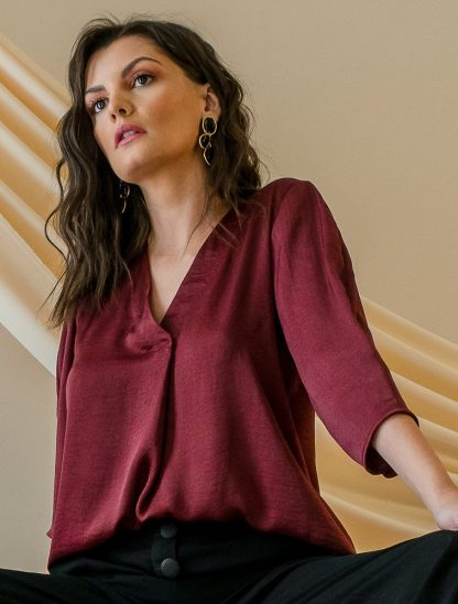 June Maroon top Slow Fashion Stone Grey