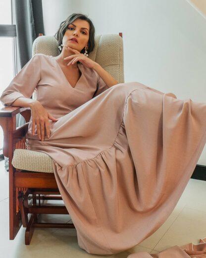 Kiara peach maxi dress slow fashion