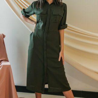 Military Midi Dress Stone Grey slow fashion