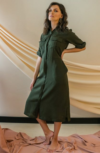 Military Midi Dress Stone Grey slow fashion