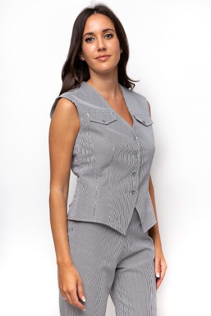 COTTON PINSTRIPED VEST